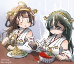 2girls ahoge aoba_(akibajun) bangs black_hair blush bowl breasts brown_hair collarbone dated detached_sleeves double_bun eyebrows_visible_through_hair food fork hair_ornament hairband hairclip haruna_(kantai_collection) highres holding holding_fork japanese_clothes kantai_collection kongou_(kantai_collection) long_hair multiple_girls nontraditional_miko noodles open_mouth plate ribbon ribbon-trimmed_sleeves ribbon_trim shaded_face sitting spice spill sweat table twitter_username wide_sleeves
