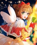 1girl :d blue_ribbon blurry blurry_background bow brown_hair capelet cardcaptor_sakura dress fur-trimmed_capelet fur-trimmed_gloves fur_trim gloves green_eyes hair_bow hair_intakes highres kero kinomoto_sakura lens_flare looking_at_viewer megaheng night open_mouth pleated_dress red_bow red_gloves ribbon shiny shiny_hair short_hair smile solo standing white_dress white_wings wings