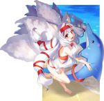 1girl :d animal_ear_fluff animal_ears bangs bare_arms bare_legs bare_shoulders barefoot beach bikini blush commentary_request eyebrows_visible_through_hair fox_ears fox_girl fox_tail full_body hair_ribbon holding kyuubi long_hair looking_at_viewer multiple_tails open_mouth original red_bikini red_eyes red_ribbon ribbon sandals silver_hair smile soles solo standing standing_on_one_leg swimsuit tail very_long_hair water yuuji_(yukimimi)