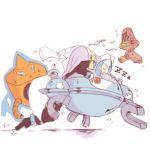 1boy akuroma_(pokemon) beheeyem blonde_hair blue_hair floating glasses labcoat magnezone male pokemon pokemon_(creature) pokemon_(game) pokemon_bw2 rotom sleeping zzz