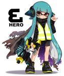 1girl bandage_on_face bangs bike_shorts black_cape black_footwear black_jacket black_shorts blunt_bangs cape closed_mouth commentary domino_mask english_commentary english_text full_body green_hair hand_on_headwear headgear hero_shot_(splatoon) holding holding_weapon inkling jacket light_blush light_frown long_hair long_sleeves looking_at_viewer maco_spl mask pointy_ears red_eyes shoes shorts simple_background single_vertical_stripe sneakers solo splatoon_(series) splatoon_1 splatoon_2 splatoon_2:_octo_expansion squidbeak_splatoon standing tentacle_hair torn_cape torn_clothes vest weapon white_background yellow_vest