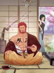 2boys abs bara beard blush chest closed_eyes crossed_legs cup facial_hair fate/grand_order fate_(series) green_eyes highres icelernd japanese_clothes kimono long_hair long_sleeves male_focus multiple_boys muscle new_year pectorals redhead rider_(fate/zero) sakazuki smile solo_focus teeth waver_velvet
