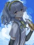 1girl blue_sky bottle bow bowtie clouds eyebrows_visible_through_hair gradient_sky green_hairband grey_eyes hair_between_eyes hair_flaps hair_ornament hairband kantai_collection long_hair looking_at_viewer open_mouth ponytail shirt sidelocks silver_hair sky solo suspenders wavy_hair white_shirt yamagumo_(kantai_collection) yamashiki_(orca_buteo)