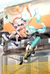 2girls absurdres aqua_hair bandana bangs bike_shorts black_bandana black_footwear black_shorts blue_bandana blue_eyes blue_footwear blunt_bangs bra_strap commentary_request cross-laced_footwear crying day domino_mask e-liter_4k_(splatoon) falling fangs grey_jacket highres holding holding_weapon inkling jacket long_hair looking_at_another looking_back mask multiple_girls myon_rio off-shoulder_shirt off_shoulder orange_hair outdoors partial_commentary pink_shirt pointy_ears scared scope shirt shoes short_sleeves shorts sneakers splat_charger_(splatoon) splatoon_(series) splatoon_2 striped striped_shirt tears tentacle_hair weapon yellow_eyes