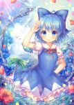 1girl blue_bow blue_dress blue_eyes blue_hair blue_sky blush bow cirno closed_mouth clouds day dress eyebrows_visible_through_hair flower hair_bow hand_on_hip ice ice_wings looking_at_viewer palm_tree petals pjrmhm_coa puffy_short_sleeves puffy_sleeves short_hair short_sleeves sky smile solo standing touhou tree water wings
