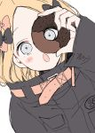 1girl abigail_williams_(fate/grand_order) absurdres arm_up bangs black_bow black_jacket blonde_hair blue_eyes blush_stickers bow doughnut dutch_angle fate/grand_order fate_(series) food forehead hair_bow heroic_spirit_traveling_outfit highres holding holding_food jacket long_hair long_sleeves open_mouth orange_bow parted_bangs simple_background sleeves_past_wrists sofra solo white_background