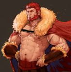 1boy abs bara beard body_hair cape chest facial_hair fate/zero fate_(series) fur_collar hand_on_hip highres looking_at_viewer male_focus male_pubic_hair manly muscle navel nipples pectorals pubic_hair red_eyes redhead rider_(fate/zero) rumlockerart scar simple_background solo topless