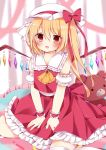 1girl :d ai_1003 ascot bangs between_legs blonde_hair blurry blurry_background blush bow brown_eyes commentary_request crystal depth_of_field detached_sleeves eyebrows_visible_through_hair fang flandre_scarlet frilled_sailor_collar frilled_skirt frills hair_between_eyes hand_between_legs hat highres long_hair looking_at_viewer mob_cap one_side_up open_mouth orange_neckwear puffy_short_sleeves puffy_sleeves red_bow red_skirt red_vest sailor_collar shirt short_sleeves sidelocks skirt sleeveless sleeveless_shirt smile solo stuffed_animal stuffed_toy teddy_bear thigh-highs touhou vest white_headwear white_legwear white_sailor_collar white_shirt white_sleeves wings wrist_cuffs