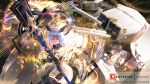 1girl azur_lane bangs bare_shoulders blue_hair commentary cross detached_collar dress english_commentary eyebrows_visible_through_hair fleur_de_lis gascogne_(azur_lane) gauntlets hair_between_eyes headgear highres holding holding_spear holding_weapon janyhero looking_at_viewer patreon_logo patreon_username polearm rigging short_hair sleeveless smile solo spear weapon white_dress yellow_eyes