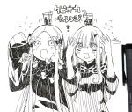 2girls ? abigail_williams_(fate/grand_order) arms_up bangs bendy_straw bow bubble_tea cup disposable_cup dress drink drinking_straw fate/grand_order fate_(series) flying_sweatdrops forehead greyscale hair_between_eyes hair_bow highres lavinia_whateley_(fate/grand_order) long_hair long_sleeves monochrome multiple_girls no_hat no_headwear on_head open_mouth parted_bangs photo signature sleeves_past_fingers sleeves_past_wrists sofra traditional_media translation_request v-shaped_eyebrows very_long_hair wavy_mouth