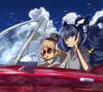 2girls bangle bangs bare_shoulders bird black_headwear blue_bow blue_eyes blue_hair blue_sky bow bracelet brown_eyes brown_hair car clouds collarbone commentary_request day debt drawstring dress drill_hair driving earrings eyebrows_visible_through_hair grey_hoodie ground_vehicle hair_between_eyes hair_bow hand_up hat hat_bow highres hood hoodie jewelry long_hair looking_at_viewer mini_hat mini_top_hat motor_vehicle multiple_girls necklace outdoors palm_tree reflection shope short_sleeves siblings sidelocks sisters sky sleeveless sleeveless_dress smile stuffed_animal stuffed_cat stuffed_toy sunglasses top_hat touhou tree twin_drills twintails upper_body very_long_hair white_bow white_dress yorigami_jo'on yorigami_shion