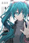 1girl aqua_eyes aqua_hair black_jacket commentary cytus fur-trimmed_jacket fur_trim grey_sweater hair_ornament hand_up hatsune_miku itsuya_(daystar) jacket jewelry long_hair looking_at_viewer necklace ribbed_sweater smile spring_onion sweater symbol_commentary turtleneck turtleneck_sweater twintails upper_body very_long_hair vocaloid waving