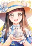 1girl animal animal_ears artist_name bare_shoulders blue_dress blue_ribbon blush brown_eyes brown_hair commentary dress eyebrows_visible_through_hair face flower fruits_basket hat hat_flower holding holding_animal kimopoleis looking_at_viewer mouse mouse_ears ribbon solo sun_hat upper_teeth white_flower