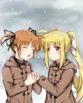 2girls black_ribbon blonde_hair blush brown_hair closed_eyes clouds cloudy_sky couple fate_testarossa hair_ornament hair_ribbon happy highres holding_hands jacket long_hair long_sleeves looking_at_another lyrical_nanoha mahou_shoujo_lyrical_nanoha mahou_shoujo_lyrical_nanoha_a's mikasa-01 multiple_girls open_mouth red_eyes ribbon short_hair short_twintails sky smile snow takamachi_nanoha tearing_up tears tongue twintails white_ribbon yuri