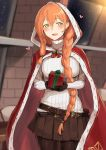 1girl :d bad_proportions belt belt_pouch black_legwear black_skirt blurry blurry_background blush braid breasts cloak gift girls_frontline green_eyes highres indoors large_breasts long_hair long_sleeves looking_at_viewer m1903_springfield_(girls_frontline) miniskirt open_mouth orange_hair pantyhose poco_(backboa) pouch red_cloak ribbed_sweater skirt smile solo sweater very_long_hair white_sweater