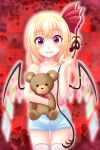 1girl :d bangs blonde_hair blood blood_splatter blue_shorts blush checkered checkered_background collarbone cowboy_shot eyebrows_visible_through_hair flandre_scarlet hair_between_eyes highres holding holding_stuffed_animal long_hair looking_at_viewer midriff open_mouth pink_shirt red_background red_eyes reimei_(r758120518) shirt short_shorts shorts side_ponytail sleeveless sleeveless_shirt smile solo stomach stuffed_animal stuffed_toy teddy_bear thigh-highs thigh_gap touhou white_legwear wings zettai_ryouiki