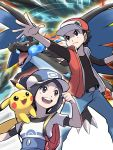 1boy 1girl :d ayo009 backpack bag baseball_cap belt black_hair commentary_request creature flat_chest gen_1_pokemon happy hat mega_charizard_x mega_pokemon on_shoulder open_mouth pants pikachu pokemon pokemon_(creature) pokemon_(game) pokemon_masters pokemon_on_shoulder pokemon_trainer ponytail pose red_(pokemon) serious smile