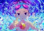 1boy air_bubble blue_eyes bubble caustics child commentary_request goggles goggles_on_head icosahedron male_focus noeyebrow_(mauve) open_mouth original outstretched_arm reaching signature solo swim_cap underwater upper_body