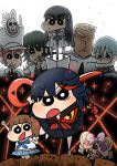 3boys 5girls alternate_costume black_hair blonde_hair blue_hair blush brown_hair character_request chiban closed_mouth cosplay crayon_shin-chan crossover eyepatch glasses green_hair hair_ribbon hat highres hime_cut kill_la_kill kiryuuin_satsuki long_hair matoi_ryuuko multicolored_hair multiple_boys multiple_girls open_mouth parody pink_hair ribbon school_uniform scissor_blade shaded_face shadow skirt skull smile sword thick_eyebrows twintails uniform weapon