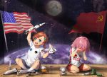 2girls :d american_flag astronaut bangs blue_eyes blue_shorts brown_hair commentary crying earth english_commentary full_moon hair_ornament highres lulu-chan92 medium_hair moon multiple_girls nasa on_floor open_mouth original personification pink_hair planet red_shorts rocket shirt short_hair shorts smile socks soviet soviet_flag space space_craft space_shuttle spacesuit t-shirt tears wooden_floor