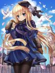 1girl animal bangs beret bird black_headwear black_legwear black_ribbon blonde_hair blue_dress blue_eyes blue_sky brown_gloves clock clock_tower closed_mouth clouds commentary_request day dress ecu8080 eyebrows_visible_through_hair fate_(series) flower flying fringe_trim fur_collar gloves hair_between_eyes hair_flower hair_ornament hair_ribbon hand_up has_bad_revision has_downscaled_revision hat highres long_sleeves lord_el-melloi_ii_case_files outdoors pantyhose petals reines_el-melloi_archisorte ribbon rose sky smile solo standing thighband_pantyhose tilted_headwear tower white_flower white_rose