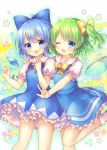 2girls :d ;d ahoge bangs blue_bow blue_dress blue_eyes blue_hair blue_wings blush bobby_socks bow breasts cirno collared_shirt commentary_request daiyousei dress eyebrows_visible_through_hair fairy_wings frilled_dress frills green_hair hair_between_eyes hair_bow ice ice_wings long_hair multiple_girls neck_ribbon one_eye_closed one_side_up open_mouth outstretched_arm pjrmhm_coa puffy_short_sleeves puffy_sleeves red_ribbon ribbon shirt short_sleeves sleeveless sleeveless_dress small_breasts smile socks standing standing_on_one_leg star touhou transparent_wings white_legwear white_shirt wings yellow_bow
