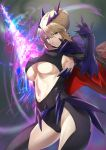 1girl absurdres armpits artoria_pendragon_(all) artoria_pendragon_(lancer_alter) bangs black_bodysuit bodysuit braid breasts cape center_opening closed_mouth dark_rhongomyniad fate/grand_order fate_(series) french_braid fujitsubo_(hujitubo0731) hair_between_eyes highres horns huge_filesize large_breasts long_hair looking_at_viewer navel revealing_clothes ribbed_bodysuit sidelocks solo thighs under_boob yellow_eyes