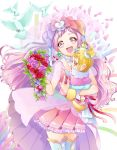 1girl :d absurdres baby bird boots bouquet bow carrying cheerful_style cure_yell floating_hair flower frilled_skirt frills hair_bow hair_ornament head_tilt heart heart_hair_ornament highres holding holding_bouquet hug-tan_(precure) hugtto!_precure long_hair miniskirt open_mouth petals pink_flower pink_hair pink_rose pink_skirt pleated_skirt precure red_flower red_rose rose see-through skirt sleeves smile thigh-highs thigh_boots very_long_hair white_footwear yuutarou_(fukiiincho) zettai_ryouiki