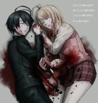 1boy 1girl ahoge akamatsu_kaede black_hair black_jacket black_pants blonde_hair blood blood_on_face bloody_clothes bloody_hair bloody_knife closed_eyes couple cowboy_shot danganronpa deep_wound from_above grey_background highres holding holding_hands holding_knife injury jacket knife long_hair long_sleeves lying miniskirt musical_note musical_note_hair_ornament musical_note_print new_danganronpa_v3 on_side pants parted_lips pink_sweater pleated_skirt print_skirt purple_skirt saihara_shuuichi shirt simple_background skirt sweater sweater_vest white_shirt xino