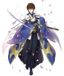 1boy brown_hair code_geass crossover expressionless holding holding_sheath holding_weapon japanese_clothes ji_no katana kimono kururugi_suzaku official_art petals scabbard sheath sinoalice sword transparent_background weapon wide_sleeves yellow_eyes