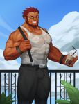 1boy abs absurdres bara bare_shoulders beard belt bracelet chest cup drinking_straw facial_hair fate/grand_order fate/zero fate_(series) glasses highres jewelry looking_at_viewer male_focus manly muscle pants pectorals redhead rider_(fate/zero) sky smile solo tank_top teeth traver009 veins