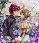 1boy 1girl black_shirt blonde_hair blue_eyes blue_flower blurry_foreground couple eye_contact flower getsuyoubi harryham_harry highres holding holding_hands holding_umbrella hugtto!_precure kagayaki_homare long_sleeves looking_at_another miniskirt off-shoulder_shirt off_shoulder open_mouth outdoors parted_lips precure purple_flower rain redhead shiny shiny_hair shirt short_hair skirt sweatdrop transparent transparent_umbrella umbrella white_skirt yellow_eyes yellow_shirt
