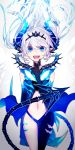 1girl :d black_gloves blue_eyes blue_pants demon_tail elbow_gloves elsword fang floating_hair gloves hair_between_eyes horns index_finger_raised long_hair looking_at_viewer luciela_r._sourcream midriff misusugi navel open_mouth pants silver_hair slit_pupils smile solo standing stomach tail very_long_hair
