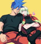 2boys baggy_pants blonde_hair blue_hair boots crossed_arms crossed_legs fxaprince galo_thymos jacket_on_shoulders leaning_on_person lio_fotia male_focus multiple_boys open_mouth pants promare shirt sleeping sleeping_on_person smile spiky_hair t-shirt violet_eyes