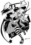 1girl bat bat_wings blackcat_(pixiv) bow buttons cape character_name crazy_eyes dated elis_(touhou) facial_mark fang fingernails flower frilled_skirt frills greyscale hair_flower hair_ornament holding holding_wand leg_up long_hair long_sleeves looking_at_viewer mary_janes monochrome multicolored multicolored_clothes multicolored_legwear open_mouth outstretched_arm pointy_ears shirt_tucked_in shoes skirt smile star star_wand striped striped_legwear talons thigh-highs touhou touhou_(pc-98) v wand wide_sleeves wings