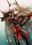 1girl areolae bone breastplate character_name claws feh_xeri fire_emblem fire_emblem_heroes highres horned_mask large_areolae long_hair mask ok_sign parted_lips red_eyes see-through simple_background skeleton solo thrasir_(fire_emblem) white_hair