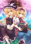 2girls :d alice_margatroid apron arm_up black_dress black_footwear black_headwear blonde_hair blue_dress blue_eyes blush book boots braid capelet cherry_blossoms commentary_request dress grass hairband hat hat_ribbon holding holding_book kirisame_marisa long_hair looking_at_viewer multiple_girls neck_ribbon open_book open_mouth parted_lips red_neckwear ribbon shoes short_hair short_sleeves side-by-side sitting smile suzunone_rena touhou tree waist_apron witch_hat yellow_eyes