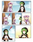 2girls ainu_clothes amber_eyes comic commission digimon digimon_world_re:digitize fate/grand_order fate_(series) grandapple71 green_hair illyasviel_von_einzbern left-to-right_manga proposal red_eyes shinomiya_rina sitonai white_hair