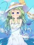 1girl alternate_costume alternate_headwear arms_behind_back bare_shoulders blue_sky blush breasts clouds collarbone commentary_request cowboy_shot day dress eyebrows_visible_through_hair fant green_eyes green_hair hat hat_ribbon heart heart_of_string highres jewelry komeiji_koishi long_hair looking_at_viewer messy_hair necklace outdoors pendant ribbon sky sleeveless sleeveless_dress small_breasts smile solo standing sundress third_eye touhou very_long_hair white_dress