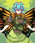 1girl ;) antennae aqua_hair bangs breasts brooch brown_eyes butterfly_ornament butterfly_wings commentary_request contrapposto dress eternity_larva eyebrows_visible_through_hair green_dress green_skirt hair_ornament highres jewelry korean_commentary large_breasts leaf leaf_background leaf_hair_ornament leaf_on_head looking_at_viewer multicolored multicolored_clothes multicolored_dress one_eye_closed outstretched_arms pigeoncrow short_hair short_sleeves skirt smile solo standing touhou wings yellow_wings