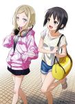 2girls bag bangs black_hair blonde_hair blue_eyes blush brown_eyes eyebrows_visible_through_hair hand_in_pocket headphones headphones_around_neck highres looking_at_viewer multiple_girls open_mouth original partially_unzipped puma_(hyuma1219) sandals short_hair_with_long_locks shorts skirt walking zipper_pull_tab