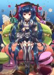 1girl arikawa_satoru black_headwear blue_hair bow commentary_request cup doughnut flower_knight_girl food full_body hair_bow hair_ornament hairclip hat holding holding_cup ice_cream long_hair looking_at_viewer macaron mary_janes mini_hat mini_top_hat purple_bow red_eyes shoes sitting smile solo striped striped_bow striped_legwear teacup thigh-highs thigh_strap top_hat torikabuto_(flower_knight_girl) twintails vertical-striped_legwear vertical_stripes