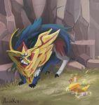 aniuskie armored_animal artist_name barking blue_fur corgi dog electricity looking_at_each_other no_humans pokemon pokemon_(creature) pokemon_(game) pokemon_swsh tears yamper zamazenta