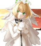 1girl bangs blonde_hair bodysuit bridal_veil chain closed_mouth eyebrows_visible_through_hair fate/extra fate/extra_ccc fate_(series) gloves green_eyes hair_intakes hands_together head_tilt highres looking_at_viewer nero_claudius_(bride)_(fate) nero_claudius_(fate)_(all) short_hair smile solo upper_body user_ukac2333 veil white_background white_bodysuit white_gloves
