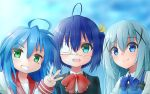 3girls :3 absurdres adult ahoge blue_bow blue_eyes blue_hair blush bow chuunibyou_demo_koi_ga_shitai! commentary_request copyright_request cute eyepatch face gochuumon_wa_usagi_desu_ka? green_eyes hair_between_eyes hair_ornament highres izumi_konata kadokawa_shoten kafuu_chino kyoto_animation loli long_hair looking_at_viewer lucky_star moe mole mole_under_eye msy_no_oekaki multiple_girls ribbon shirt short_hair smile studio_connection takanashi_rikka tbs teenage tokyo_mx tv_channel_connection upper_teeth w white_eyepatch white_fox_(company) x_hair_ornament yellow_ribbon