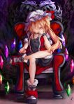 1girl alternate_costume bangs black_shirt black_shorts blush boots bow calpis118 chair closed_mouth commentary_request crystal dark_background darkness eyebrows_visible_through_hair flandre_scarlet hair_between_eyes hand_on_own_cheek hand_on_own_face hat hat_bow highres jacket jewelry leg_support light_particles looking_at_viewer mob_cap necklace on_chair one_side_up red_bow red_eyes red_footwear red_jacket shirt short_hair shorts sitting smile solo touhou white_headwear wings