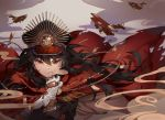 absurdres aircraft airplane bangle bangs biplane black_headwear bleeding blood blood_on_face bracelet breath cable cape clouds cuts earrings eyebrows_visible_through_hair family_crest fate/grand_order fate_(series) floating floating_hair glint gloves grin hair_between_eyes hat high_collar highres injury jewelry koha-ace lace lming_(2072878058) long_hair long_sleeves looking_at_viewer military military_hat military_uniform oda_nobunaga_(fate) peaked_cap putting_on_gloves red_cape red_eyes slit_pupils smile smirk smoke spiked_knuckles stud_earrings tassel teeth torn_cape torn_clothes uniform upper_body very_long_hair weapon white_gloves