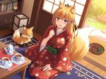 1girl :d animal animal_ears bangs blonde_hair blue_eyes blush book breasts collarbone commentary_request cup day eyebrows_visible_through_hair fang fingernails floral_print fox fox_ears fox_girl fox_tail hair_ornament hand_up high_ponytail indoors japanese_clothes kimono lantern long_hair looking_at_viewer medium_breasts nakamura_sumikage obi open_mouth original ponytail print_kimono red_kimono sash saucer seiza sitting sleeves_past_wrists smile solo tail tail_raised tea teacup teapot very_long_hair wide_sleeves wooden_floor