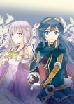 10s 1996 2012 2girls 90s black_gloves blue_eyes blue_hair closed_mouth dress fingerless_gloves fire_emblem fire_emblem:_genealogy_of_the_holy_war fire_emblem:_kakusei fire_emblem:_seisen_no_keifu fire_emblem_awakening fire_emblem_heroes gloves highres hukashin intelligent_systems julia_(fire_emblem) long_hair long_sleeves lucina multiple_girls nintendo purple_hair smile super_smash_bros. tiara violet_eyes yuria_(fire_emblem)