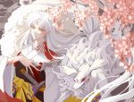 1boy ana_bi animal armor character_request cherry_blossoms closed_mouth commentary_request crescent facial_mark fingernails flower forehead_mark fur hexagon inuyasha japanese_clothes kimono long_fingernails long_hair male_focus petals pink_flower pointy_ears sesshoumaru sheath sheathed sword very_long_hair weapon white_hair white_kimono white_nails yellow_eyes